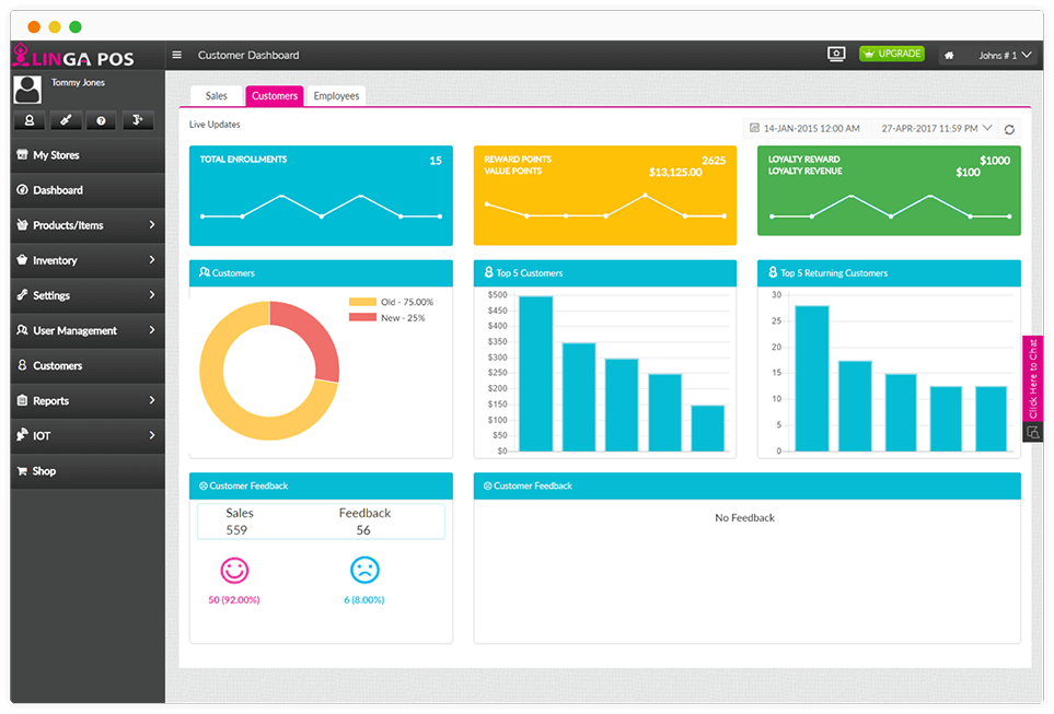 Linga customer dashboard